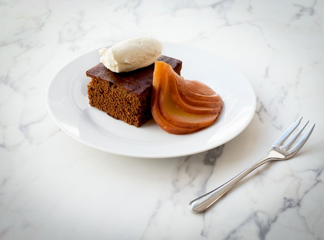 Gingerbread Cake with Poached Pear by Chef Larry Milner