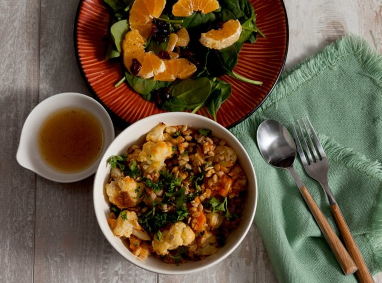 Hearty Farro & Chickpea Bowl with Roasted Vegetables by Chef Katie Cox