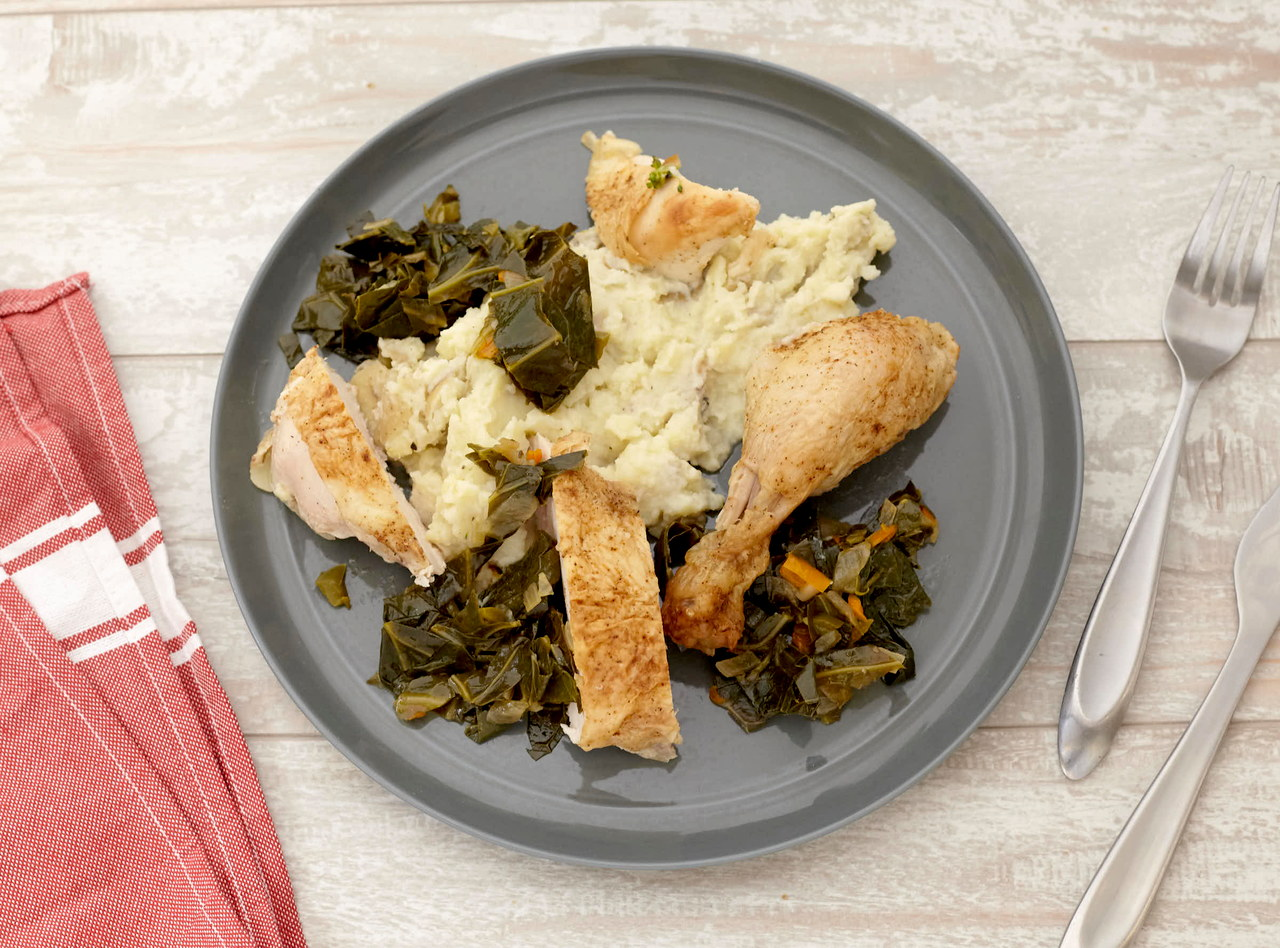 Spice Roasted Chicken with Collard Greens by Chef Katie Cox