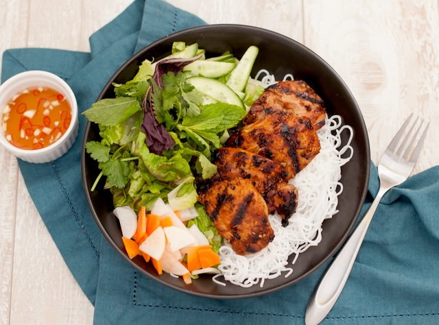Gluten Free Lemongrass Chicken Vermicelli Bowl by Chef Steve Shafer