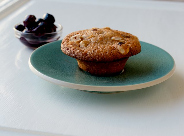 Hazelnut Financier with Blueberry Compote by Chef Sebastian Falcon