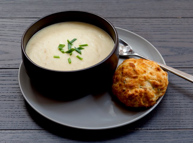 Potato Leek Soup with Cheddar Chive Biscuit by Chef Katie Cox