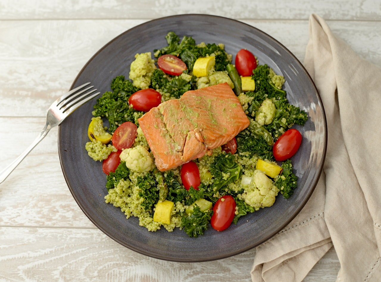 Roasted Sockeye Salmon with Quinoa Salad by Chef Guru Sigdel