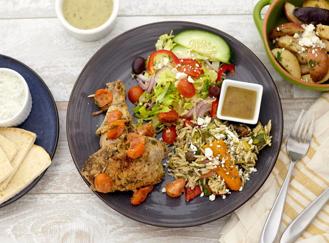 Greek Herb Roasted Chicken with Tomatoes and Orzo Salad by Chef Jenn Strange