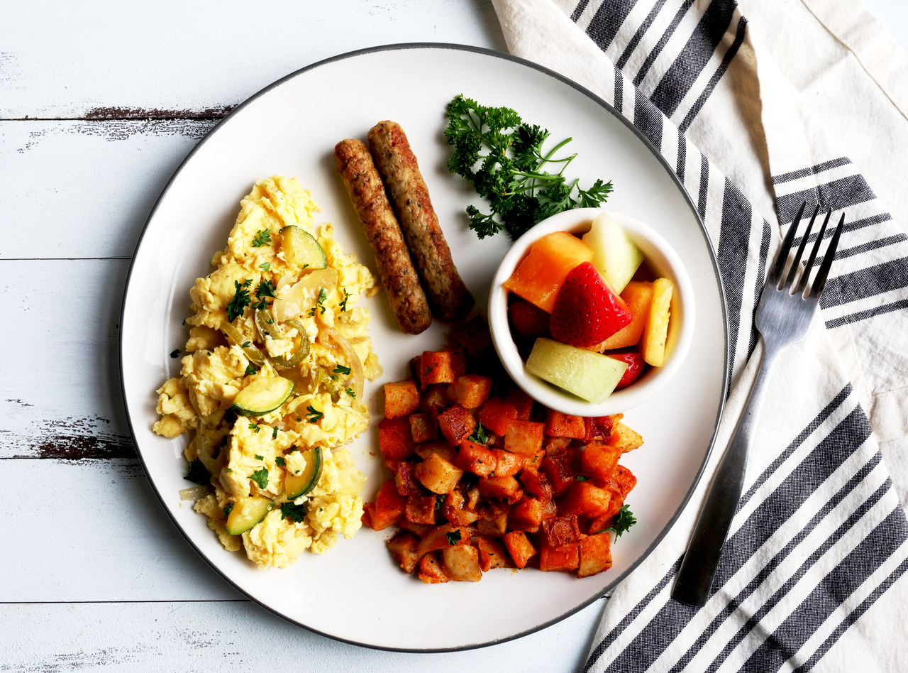 Dairy Free Farmer's Scramble Breakfast with Chicken Sausage by Chef Jesse & Ripe Catering Team