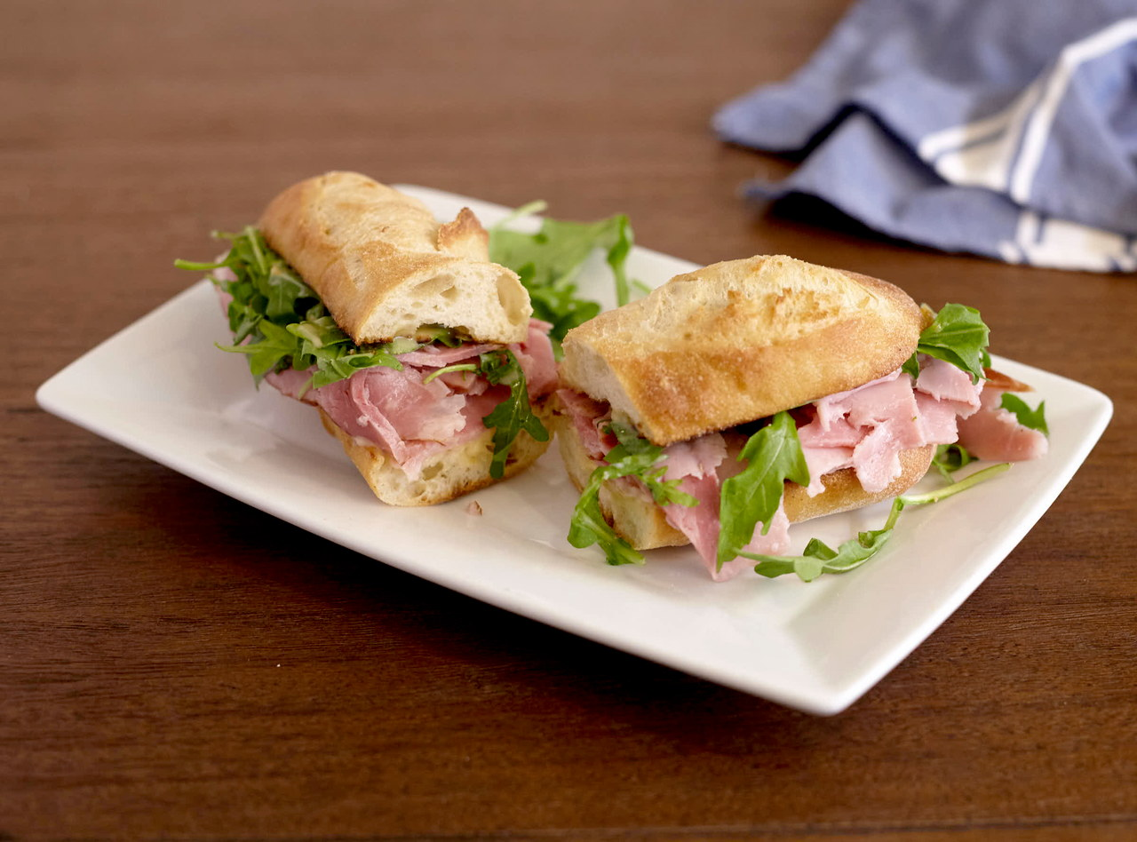 Honey-cured Ham Baguette Sandwich with Side Salad by Chef Lilly Gjekmarkaj