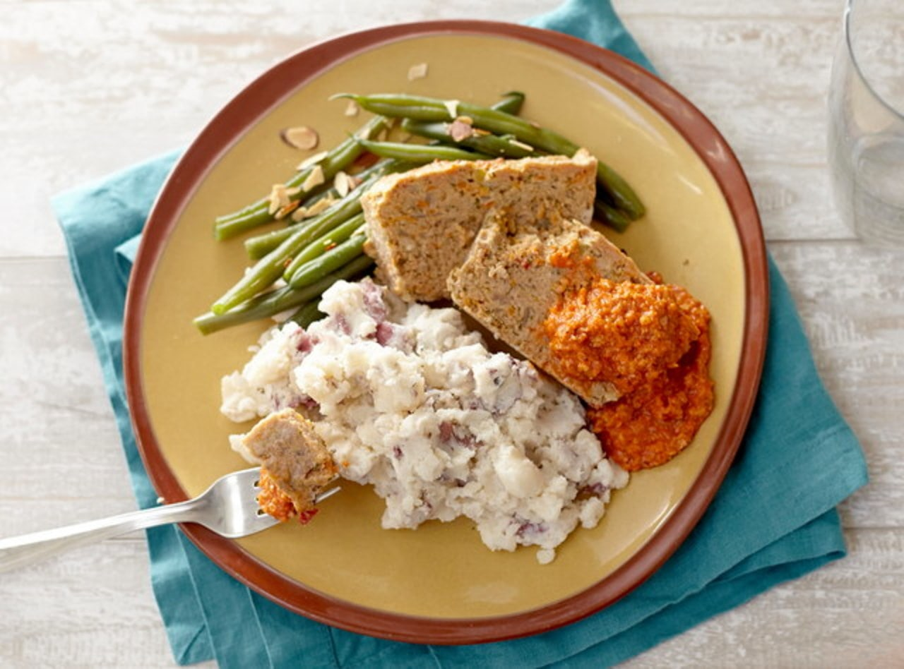 Turkey Meatloaf with Smashed Potatoes & Green Beans by Chef Jenn Strange