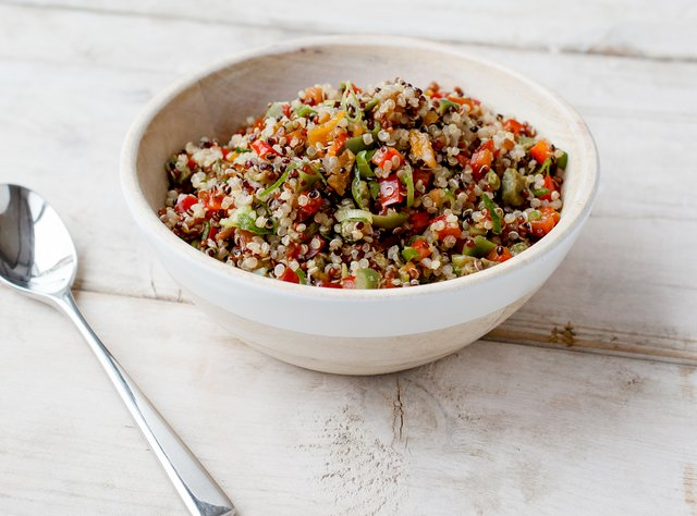 Quinoa Salad with Olives, Apricots and Peppers by Chef Travis Bettinson