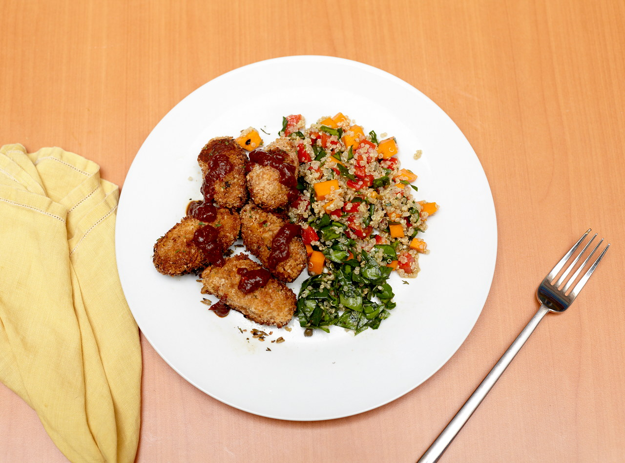 White Bean and Squash Fritter with Quinoa Salad by Chef Jesse & Ripe Catering Team