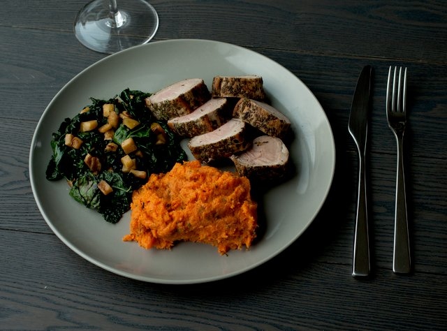 Pork Tenderloin with Yams and Kale by Chef Katie Peterson