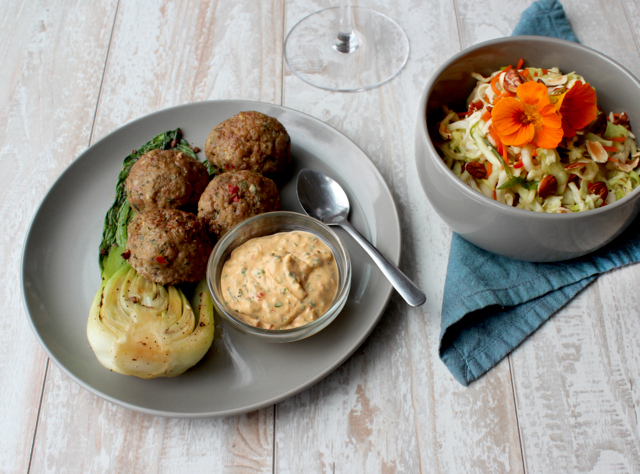 Ginger Cilantro Pork Meatballs with Honey-Sesame Slaw by Chefs Stephanie and David