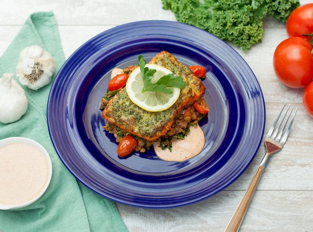 Parmesan-Herb Crusted Sockeye by Chef Prakash Niroula