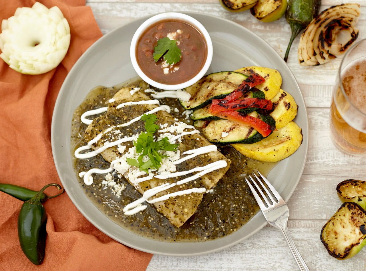 Roasted Tomatillo Pork Enchiladas Boxed Lunch by Chefs Frankie & Edgar
