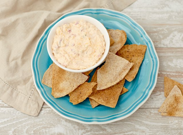 Southern Pimento Cheese Dip with Pita Chips by Chef Katie Cox