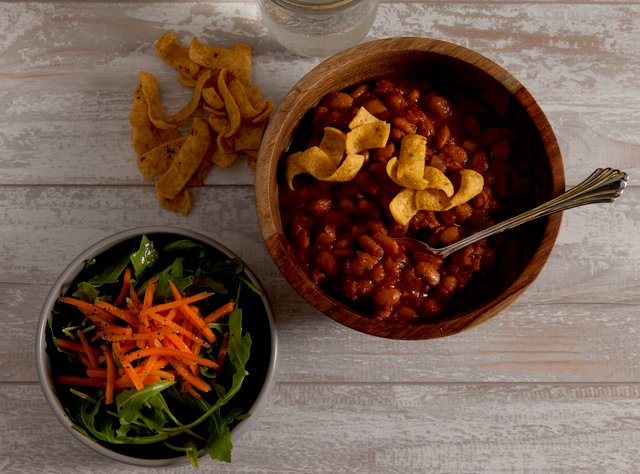 Vegan Chili with Salad and Cornbread by Chef Katie Cox