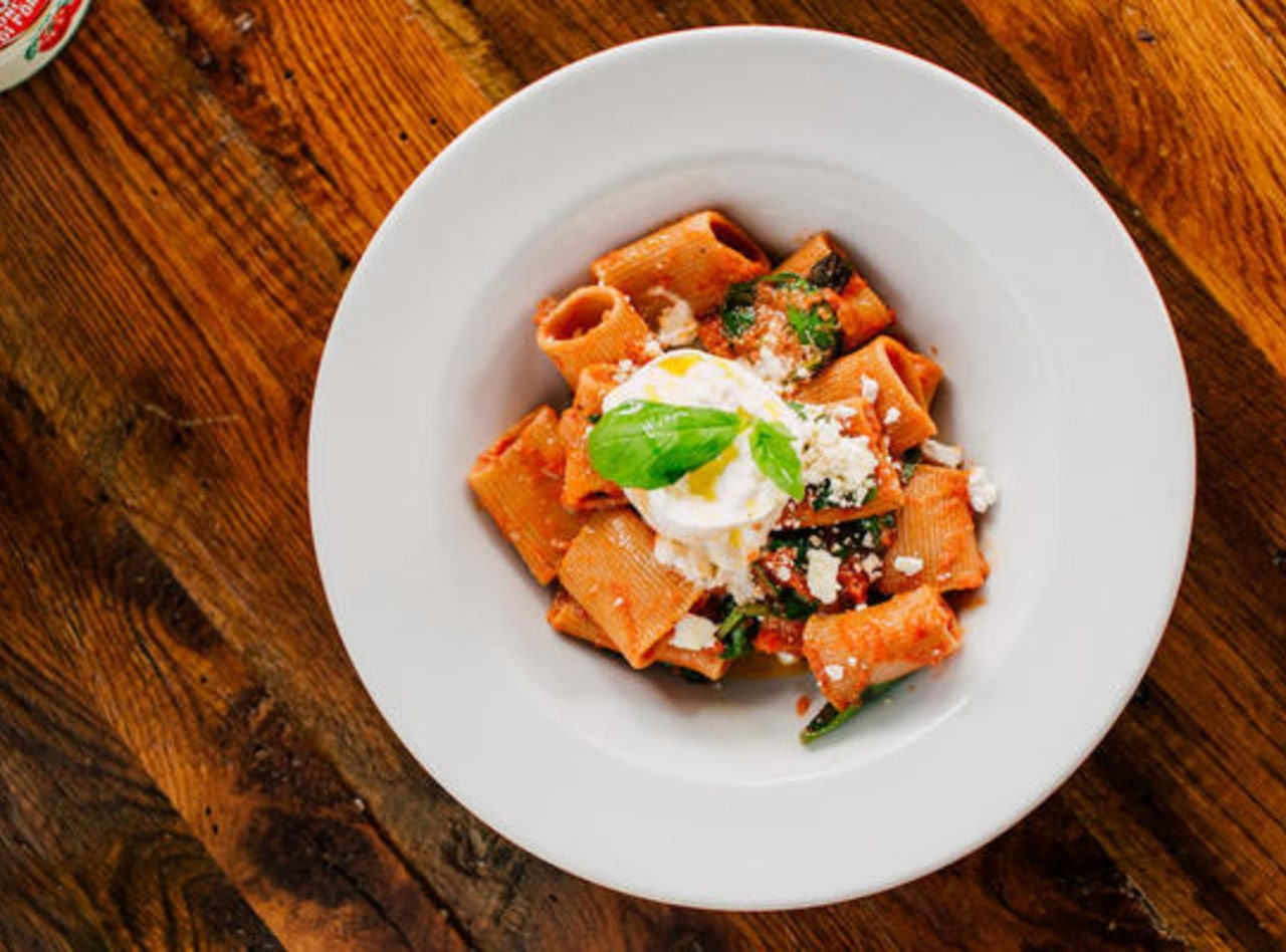Rigatoni with Pomodoro and Baby Spinach by Chef Filippo Fiori