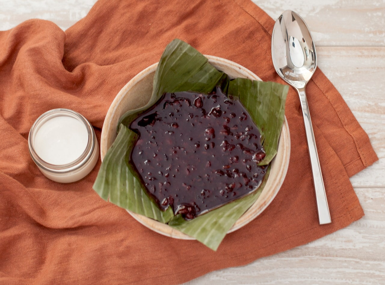 Black Rice Pudding with Salted Coconut Cream by Chef Som Kesa