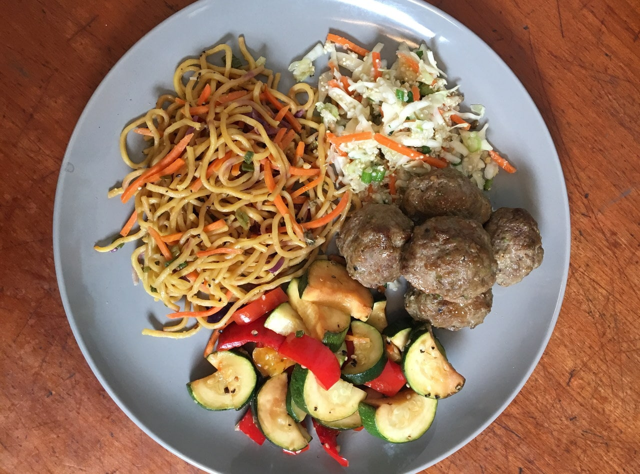 Gluten Free Ginger Soy Turkey Meatballs with Chow Mein by Chef John Tran - SMC