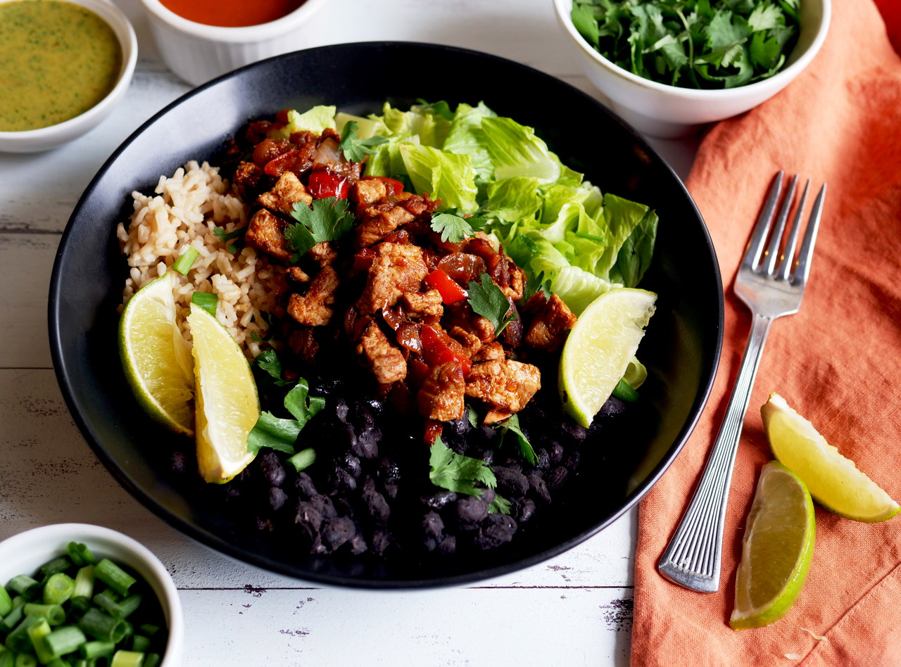 Grab 'n Go Jerk Caribbean Pork Quinoa Bowl by Chef Mulu Abate