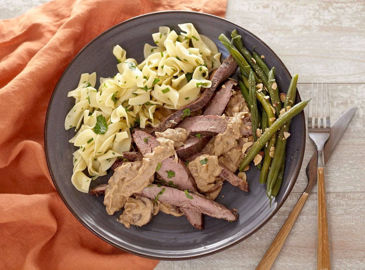 Flank Steak Stroganoff with Smashed Red Potatoes by Chef Jenn Strange