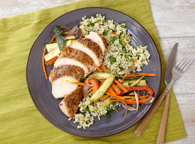 Honey Mustard Chicken Breast with Rice Pilaf by Chef Jenn Strange