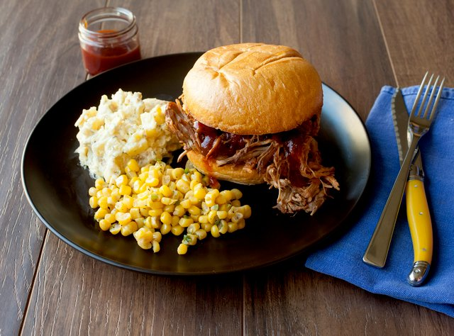 BBQ Pulled Pork Sandwich with Bacon Ranch Potato Salad by Chef Katie Cox