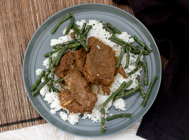 Indonesian Beef Rendang and Long Beans by Chef Evelyn Hung